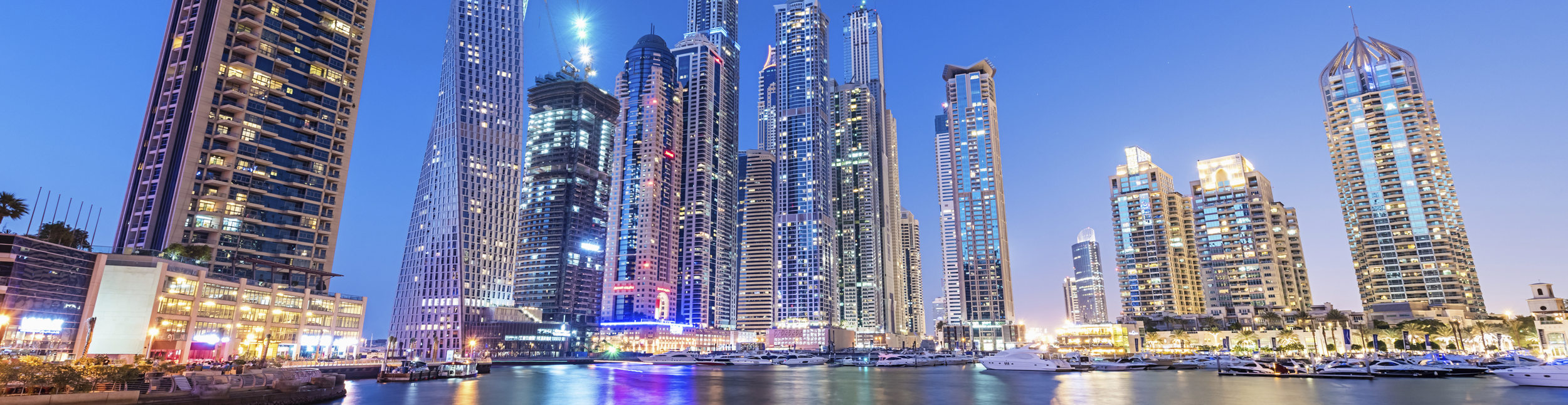 Dubai coastal city view at night